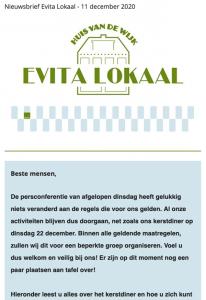 nieuwsbrief 11 december 2020, evita lokaal