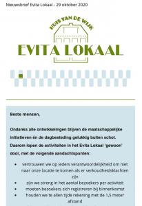 Nieuwsbrief evita lokaal 29 oktober 2020