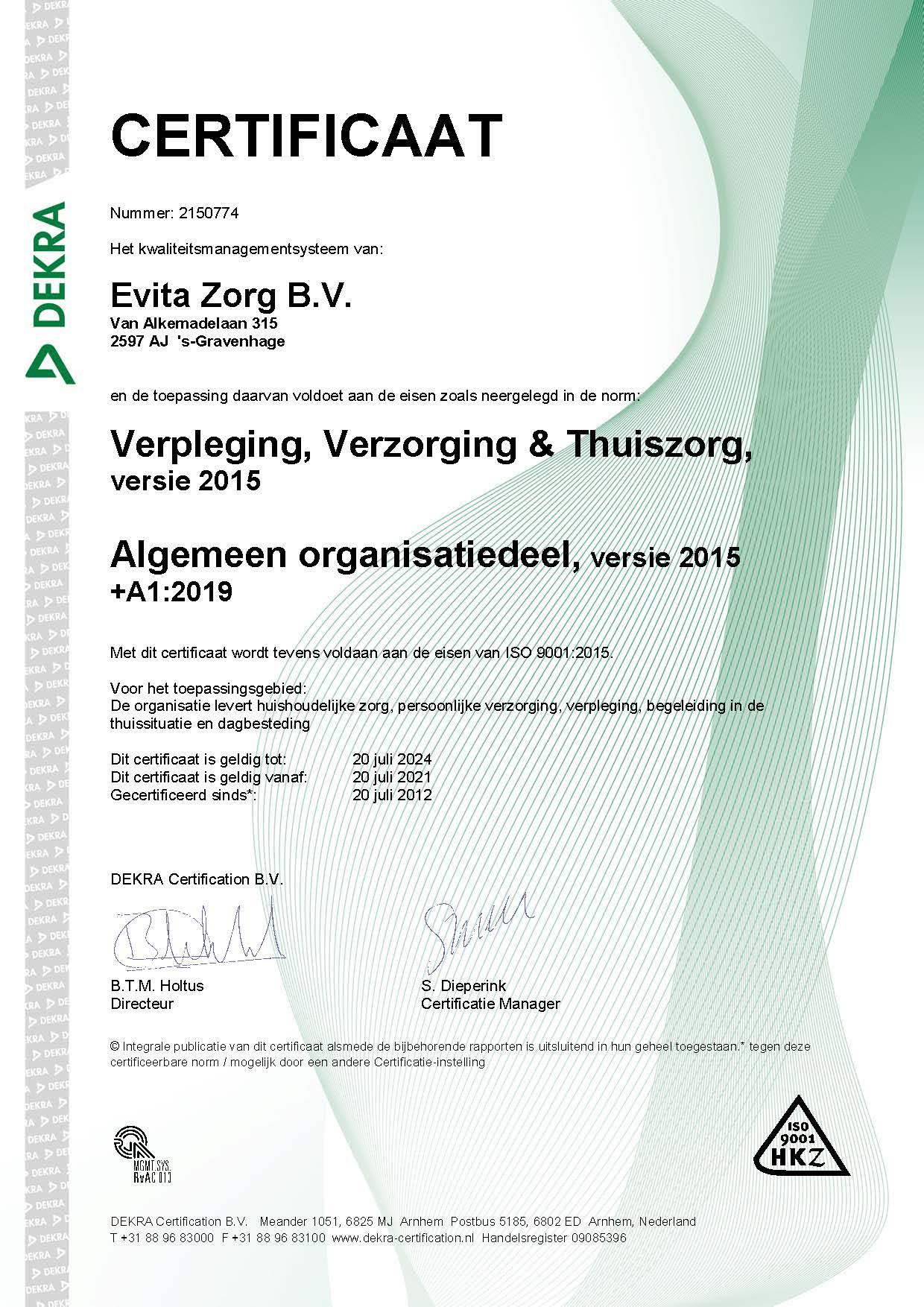 HKZ-certificaat Evita Zorg